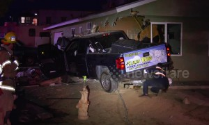 Residents evacuated after pick-up truck slams into California home