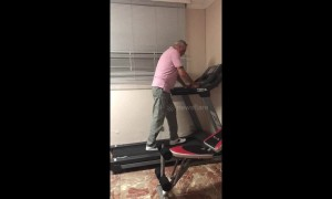 Older man freaks out and can't figure out how to turn off treadmill