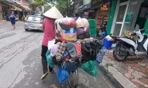 Unique business of all items on bicycles on the street in Vietnam