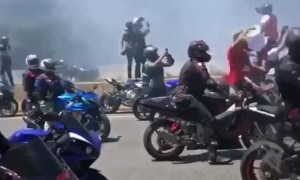 Burnout Fail During Motorcycle Mayhem
