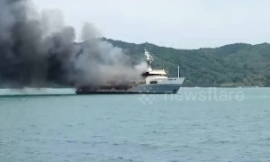 Fire crews battle blaze on luxury superyacht moored on Thai island