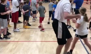 Coach Shoots Full Court Backwards