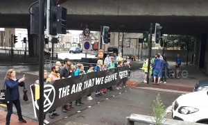 Extinction Rebellion shut off busy London road in protest of new tunnel proposal