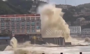 Typhoon Lekima hits China's Taizhou seeing waves reach the height of five-storey buildings