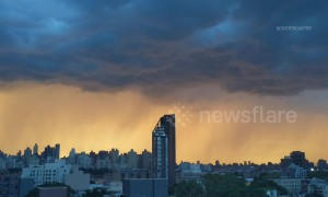 Stormy skies make for stunning sunset over Manhattan