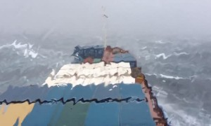 Crew captures footage of ship battling massive sea waves