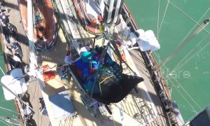 Wheelchair user hoisted onto crow's nest of 'disability friendly' ships off UK coast