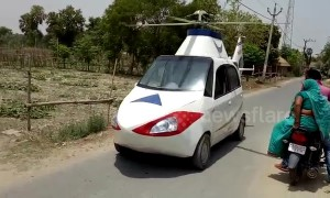 Wannabe Indian pilot turns his car into a helicopter (sort of)