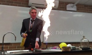 Dangers of party balloons shown off in fireball demonstration at Australian school
