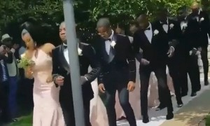 Wedding party pulls off synchronized dance down the aisle