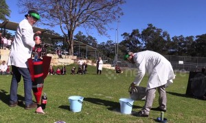 Australian science teachers amuse students with giant cola-powered rocket launch