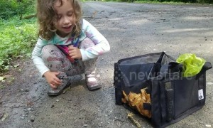Sweet 5-year-old tries to feed banana slug mushrooms and huckleberries