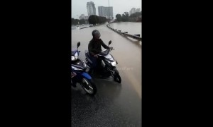 Roads flooded after heavy rain in Malaysia