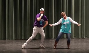 Mother-Son Duo Pull Off Epic Dance Moves At High School Talent Show