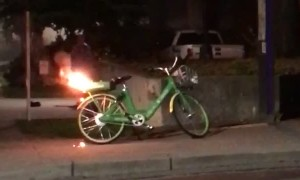 Electric Bike Explodes into Flames