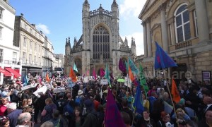 Extinction Rebellion climate protest in historic UK city of Bath against toxic air