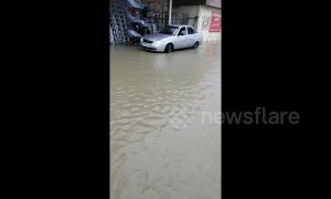 Heavy rain in the Russian city of Sochi causes flooding