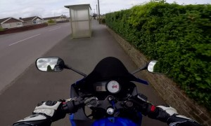Motorcycle Avoids Car, Forced to Go Off-Road