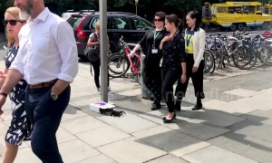 Web of deception: Prankster freaks out pedestrians in Ireland with fake giant SPIDER