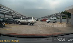 Filipino driver rams a car while making a routine parking manoeuvre