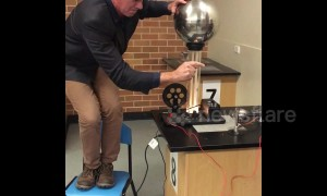 Science teacher lights fire with the tip of his finger at Australian school