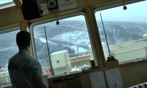Cargo Ship Rocks Vigorously In Heavy Sea Storm