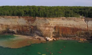 Kayakers Come Dangerously Close to Cliff Collapse
