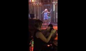 Hilarious old woman dances provocatively at karaoke night