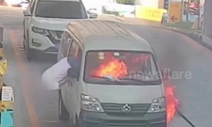 Minibus driver escapes through window after vehicle catches fire at petrol station in China