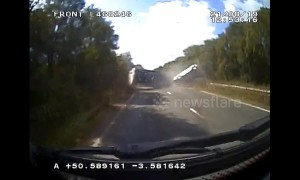 Motorists and pet dog survive horrific caravan crash in UK caught on dashcam