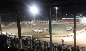 Tragic moment car ploughs into crowd killing one woman at demolition derby in Montana