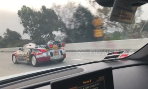 Unusual Star Wars car with R2-D2 spoiler spotted on Los Angeles highway