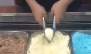 Ice cream juggler shows off some impressive skills