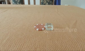 Magician in Mauritius melts poker chip and glass into dice