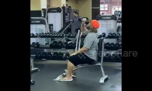Man 'pops a cold one' at the gym