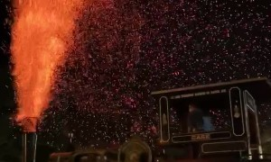 Steam Engine Sends Up Sparks