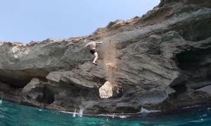 Cliff Breaks off Under Divers Feet