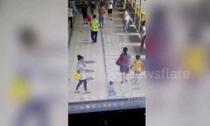 Bus narrowly avoids commuters after smashing into waiting room in China