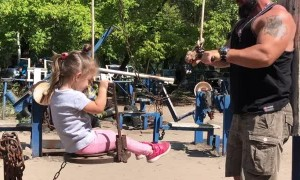 Dad Works Out with Daughter