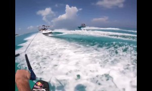 Epic water skiing flip!