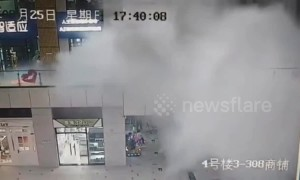 Rainwater crashes down into Chinese mall after ceiling collapses