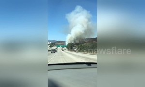 Los Angeles brush fire erupts off the 134 freeway