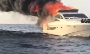 Boat Seen Burning at Sea