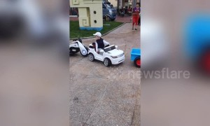 Four-year-old boy shows off incredible driving skills with toy car in China