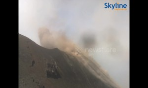 Huge eruption at Stromboli volcano caught on live webcam
