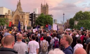 Anti-Brexit protesters block Parliament Square after the Queen approves Boris Johnson's plan to suspend Parliament