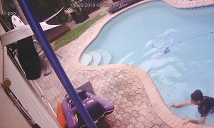Floridian Falls in Pool with Phone