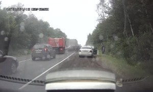 Truck Takes out Line of Stopped Traffic