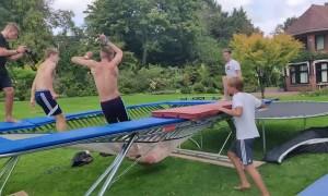 Trampoline Trick Folds Jumper in Half