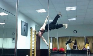 Gymnast performs gravity-defying air walk